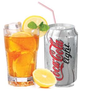 Ice tea and coke light
